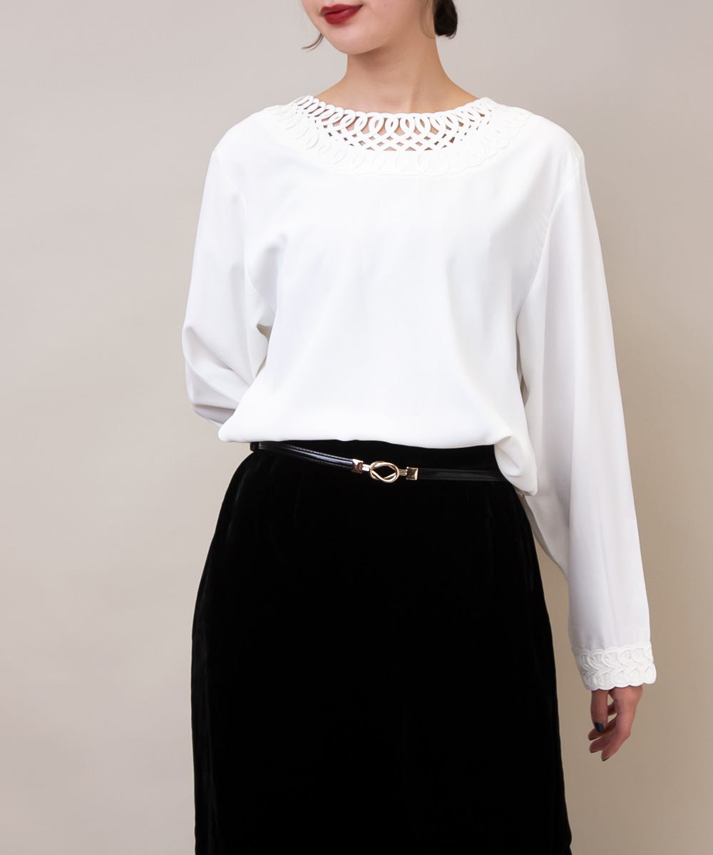 White Design Neck Blouse