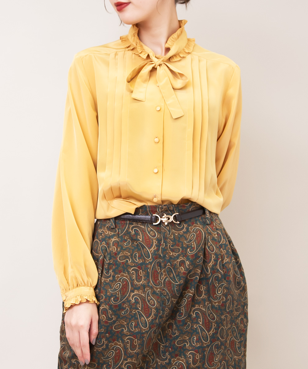 Mustard Yellow Frill Ribbon Blouse