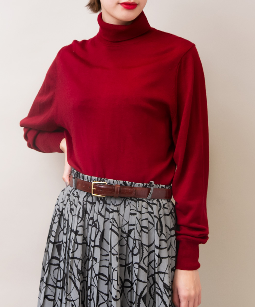 Red Color Turtle Knit