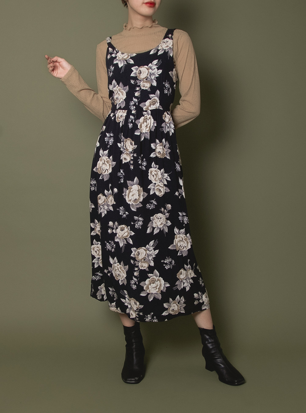 Navy Rose Design Dress
