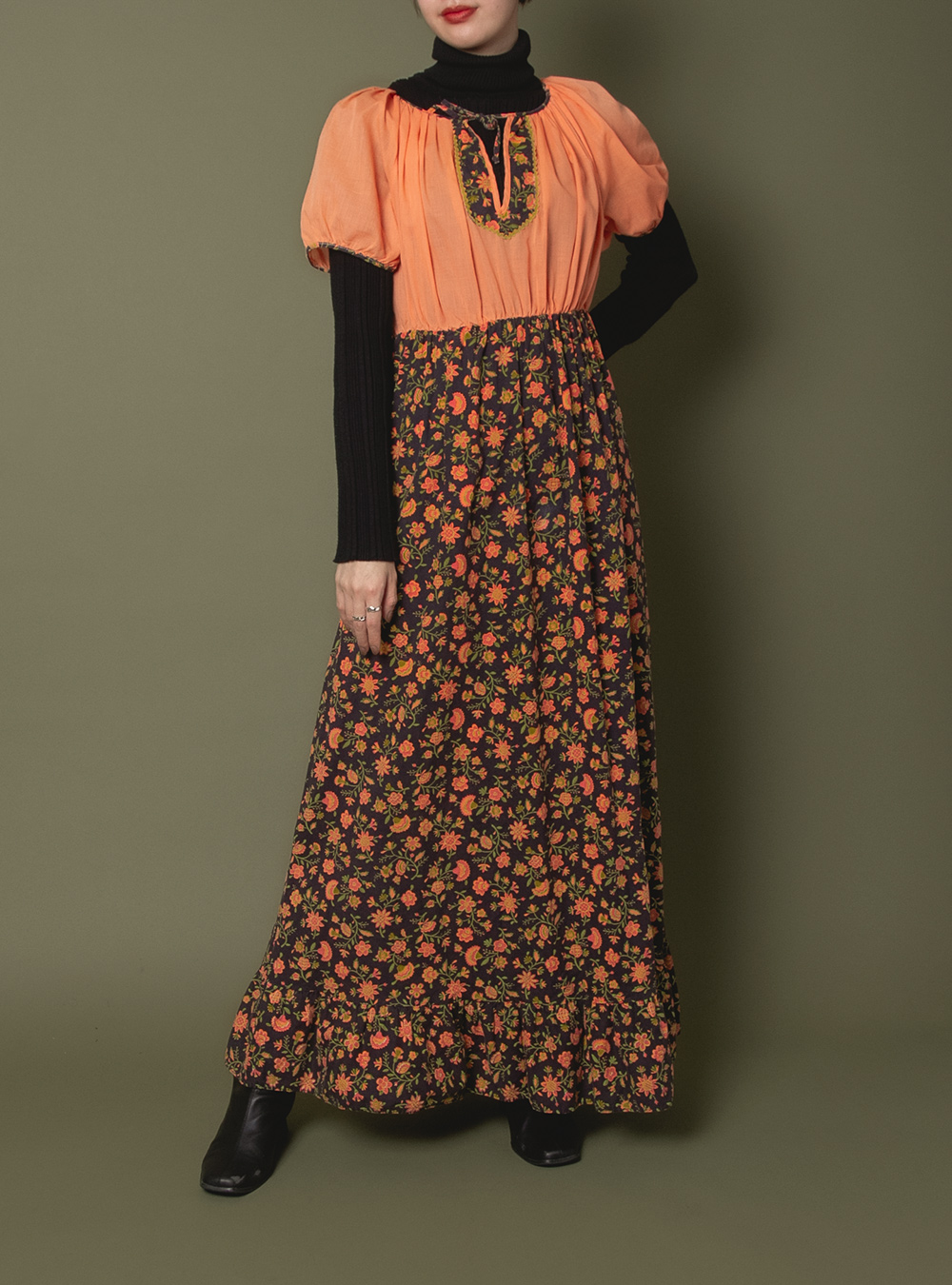 1970's Flower Skirt Docking Dress