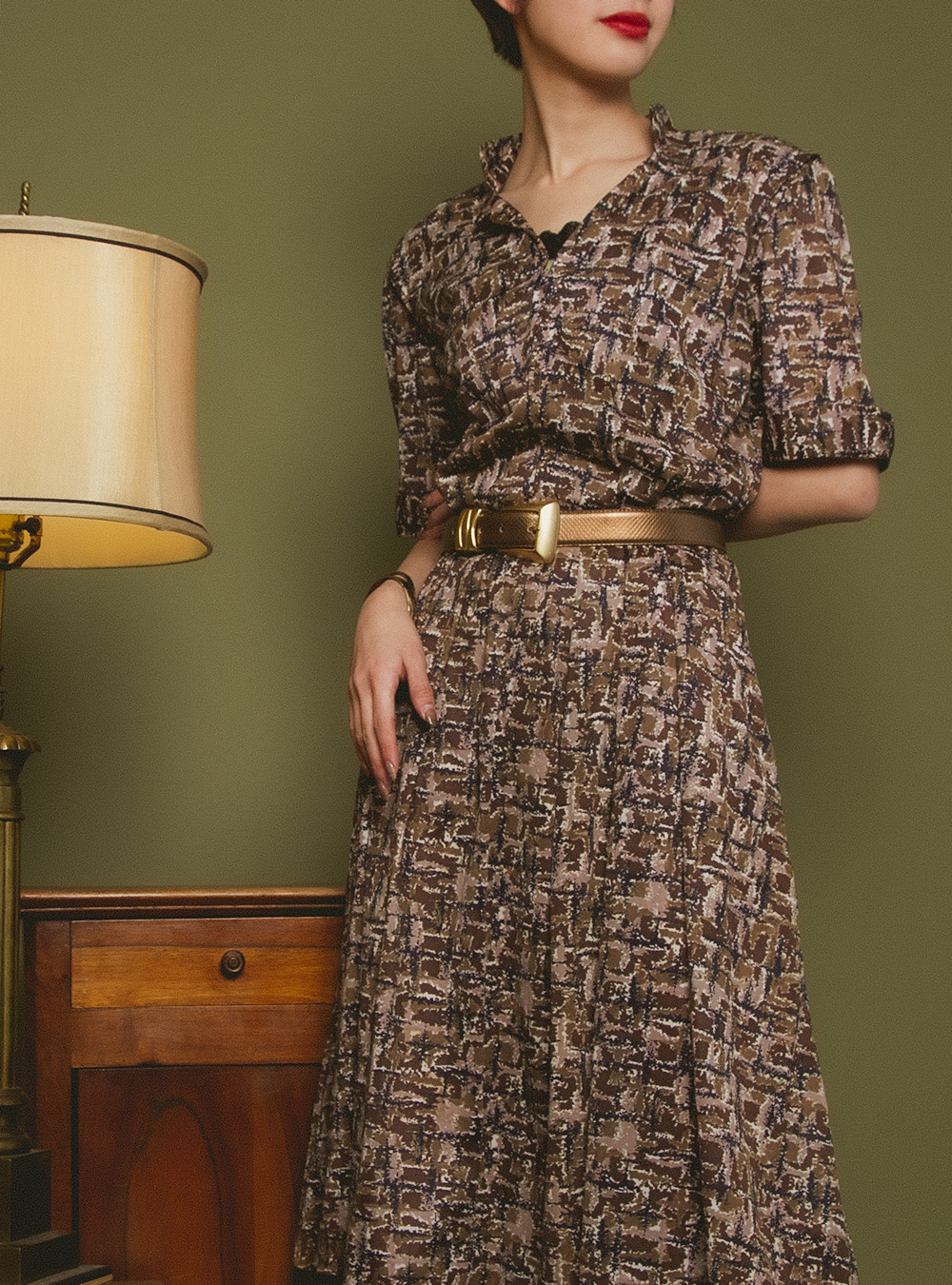1950's Brown Textile Dress