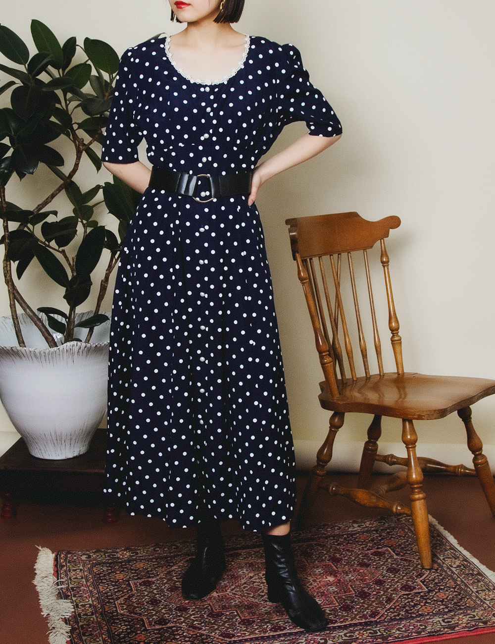 Navy Dot Design Dress