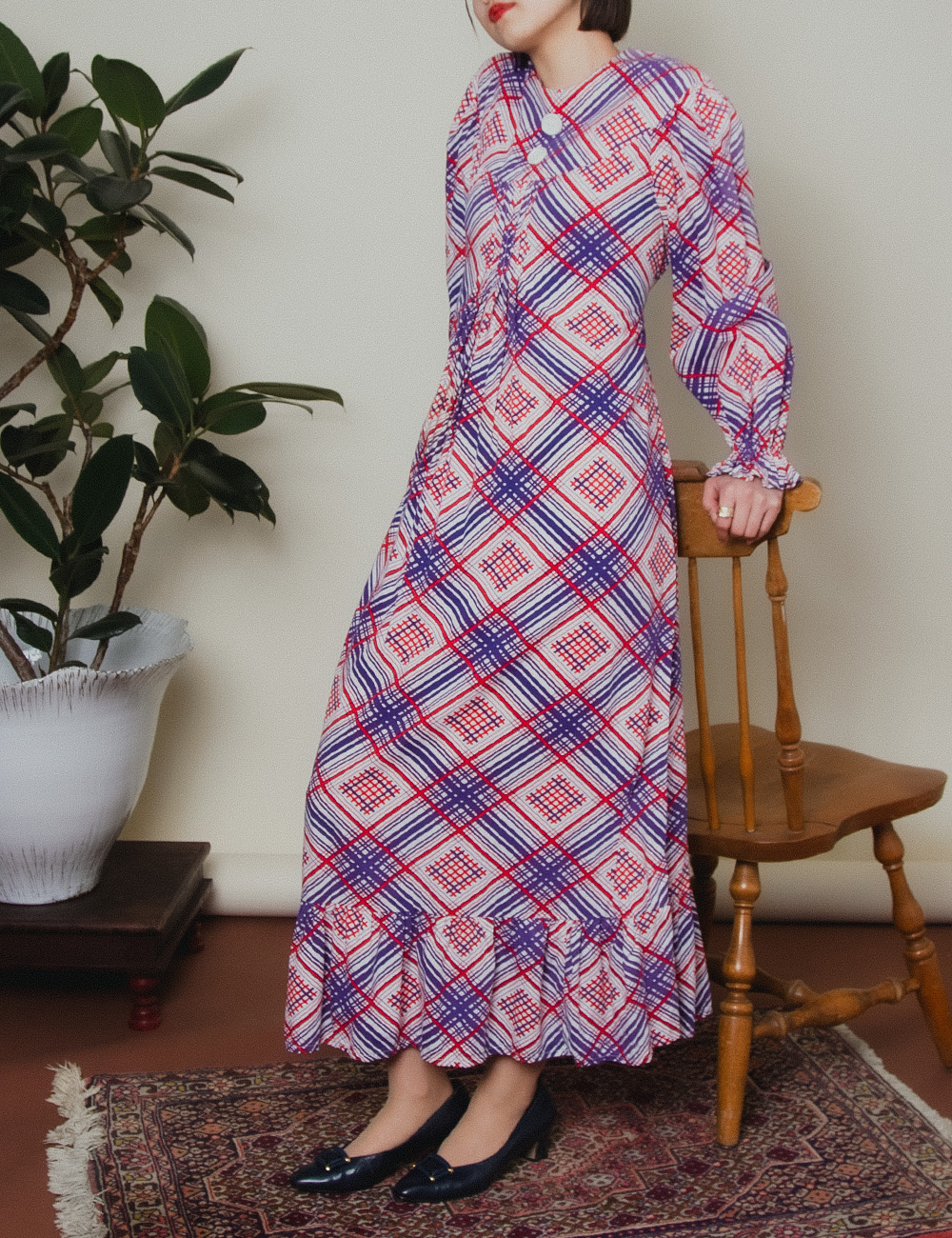 1970's Red Purple Design Check Dress