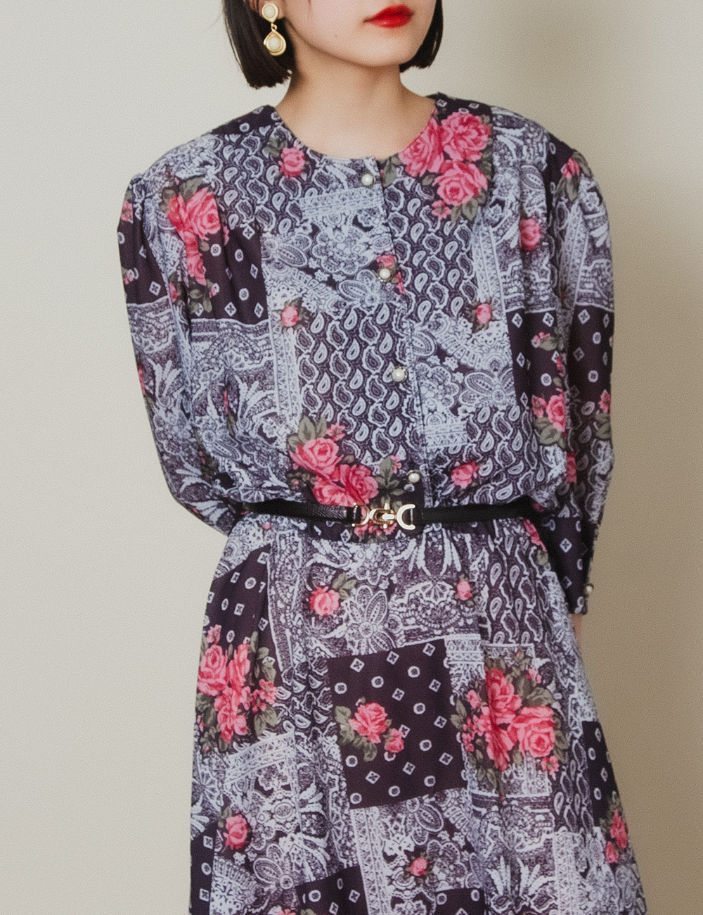 Paisley Flower Pearl Button Dress