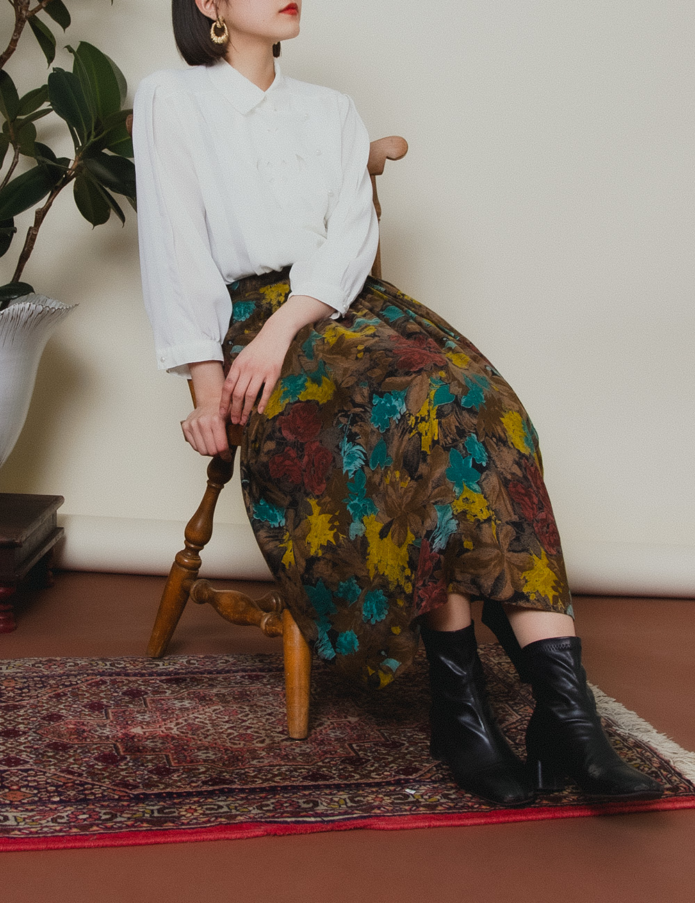 Brown Art Touch Flower Skirt