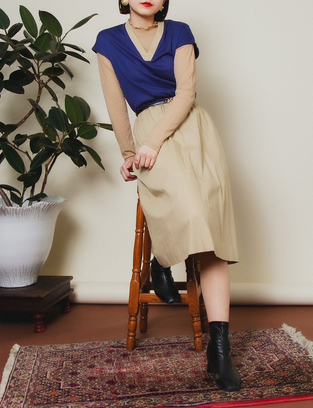 Navy Blue × Beige French Sleeve Dress