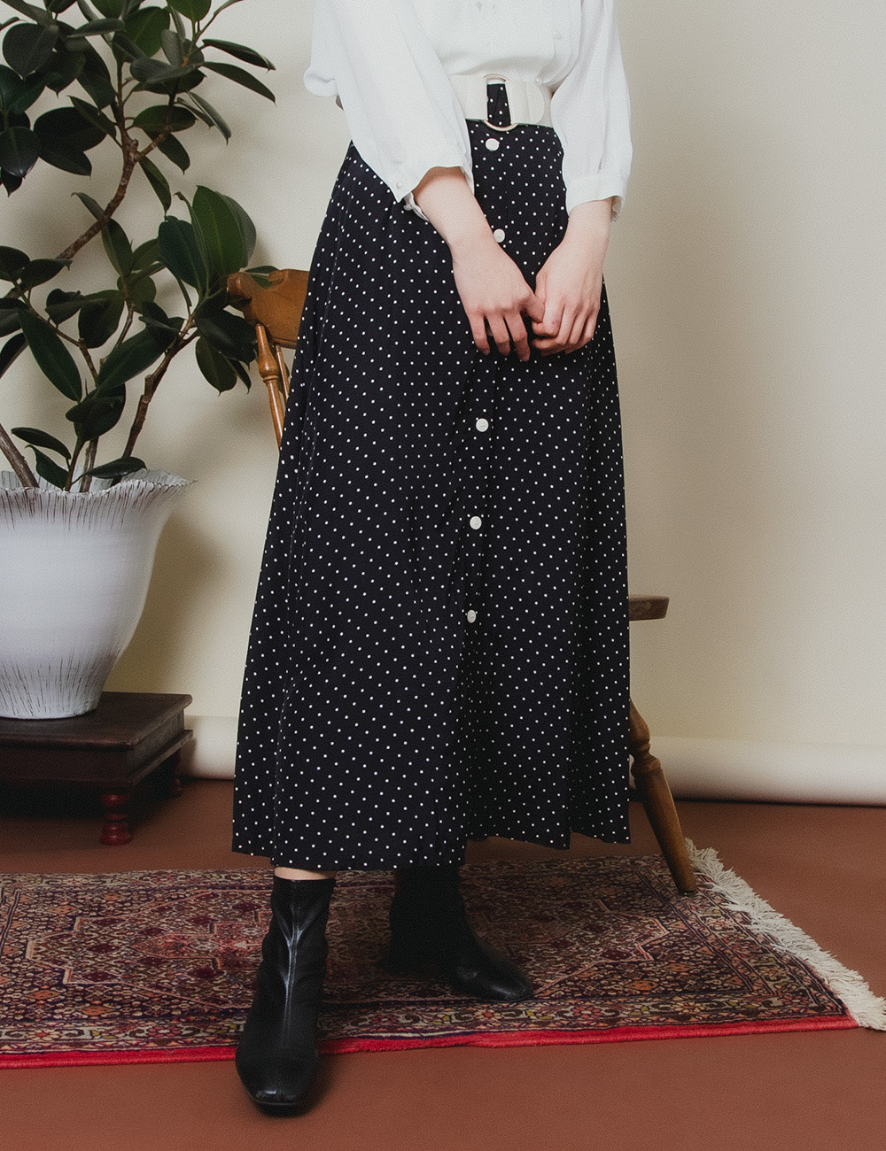 Black White Dot Front Button Skirt