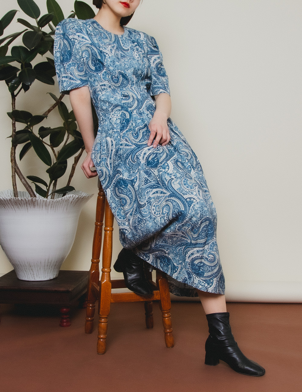 Blue Paisley Front Double Button Dress