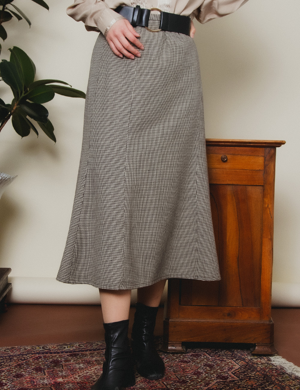 Brown A-Line Houndstooth Skirt