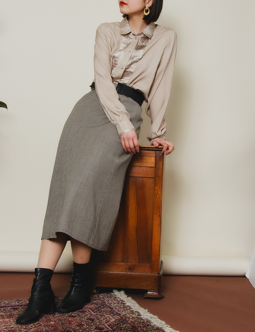 Brown Beige Front Design Blouse