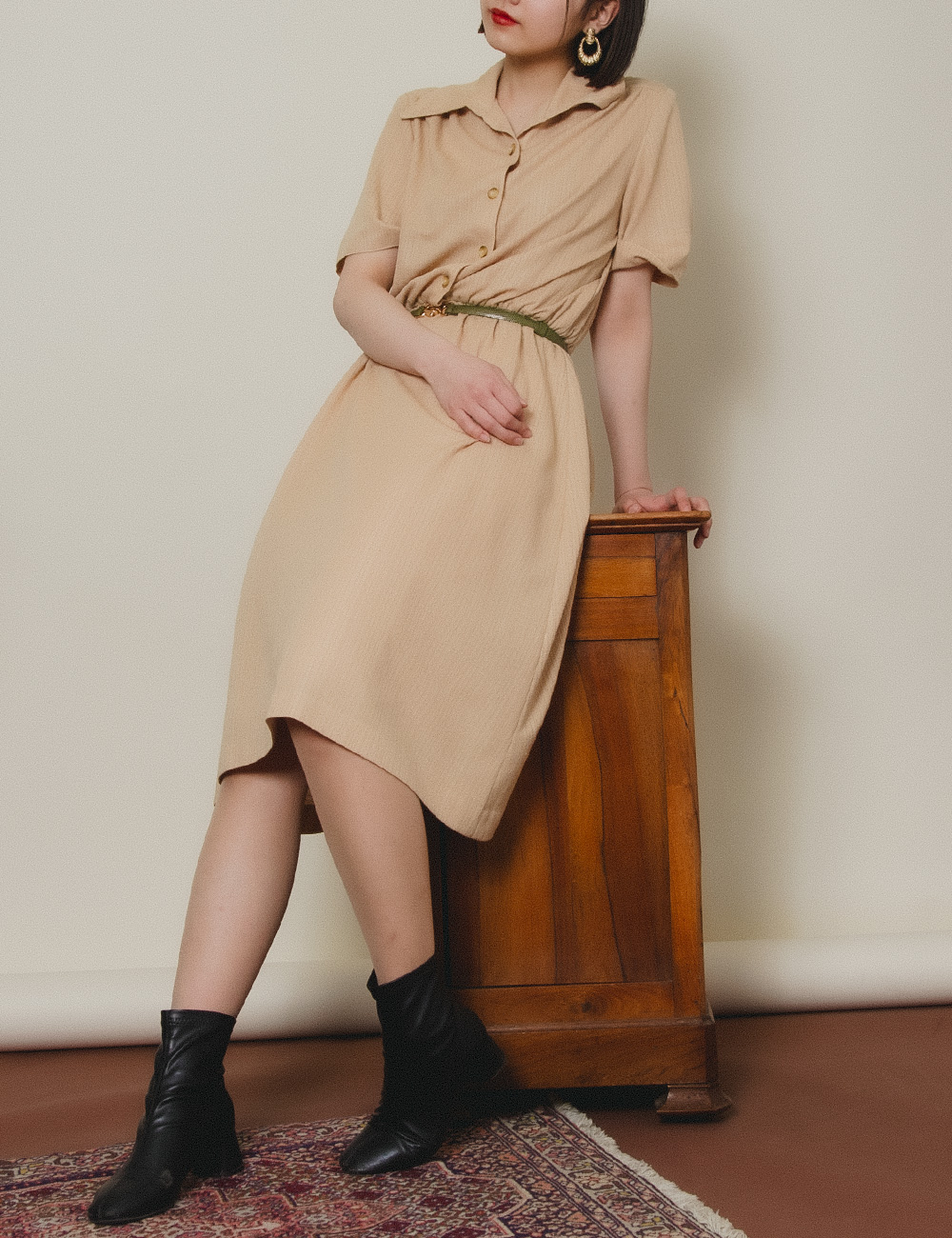 Yellowish Brown Shirt Collar Dress