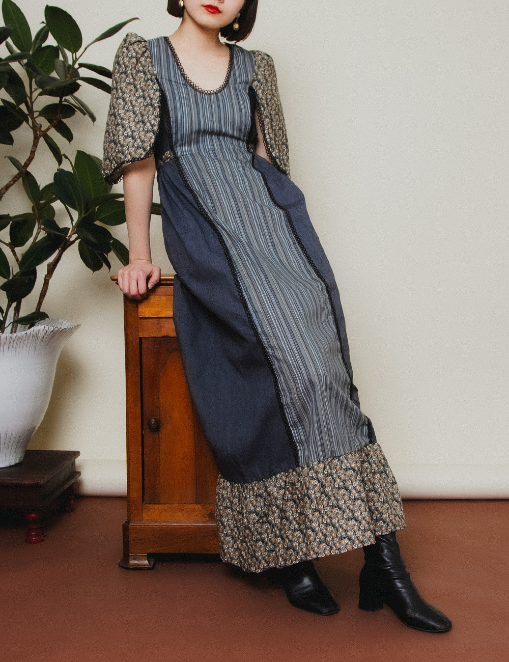 1970's Flower × Stripe Design Dress