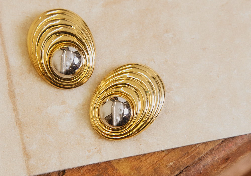 Gold Silver Design Earring