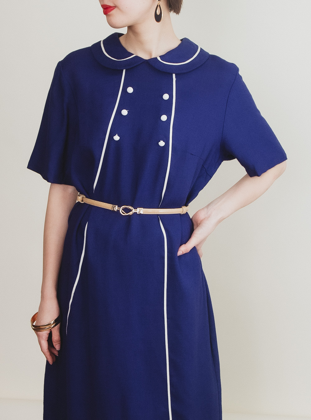 Navy Double Button Dress
