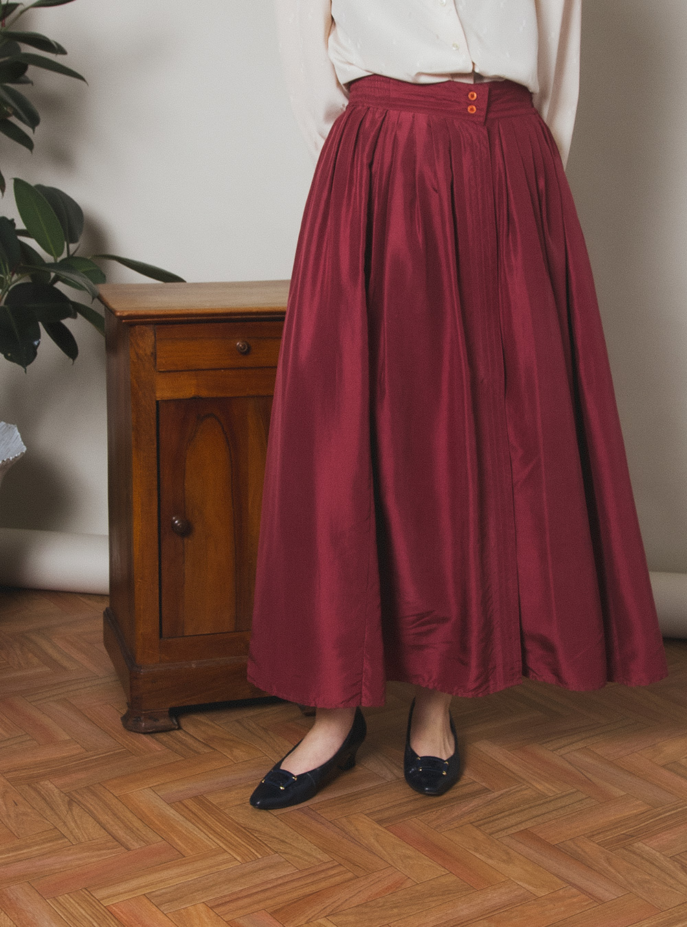 Dusty Red Silk Flare Skirt