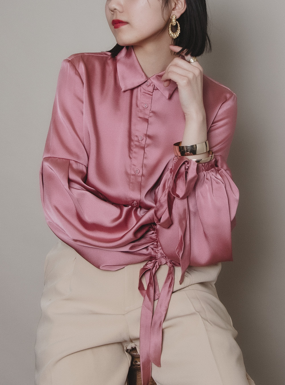 Dusty Pink Ribbon Design Sleeve Blouse
