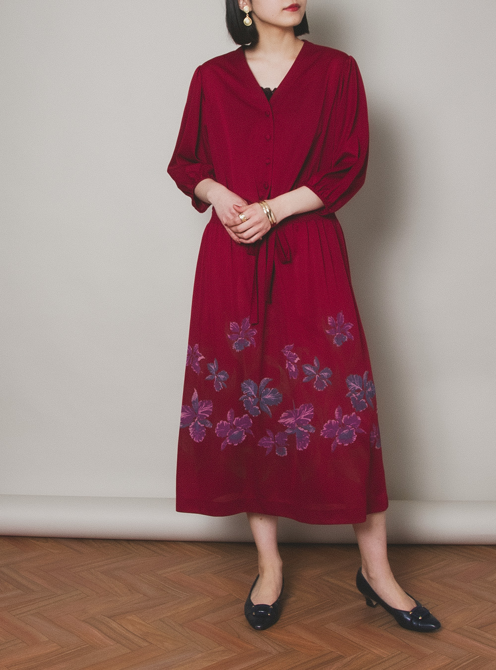 Chinoiserie Simple Flower Print Dress