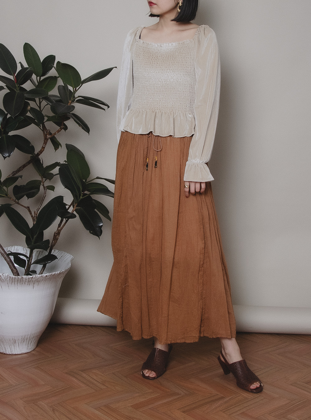 Brown Color Ethnic Indian Cotton Skirt
