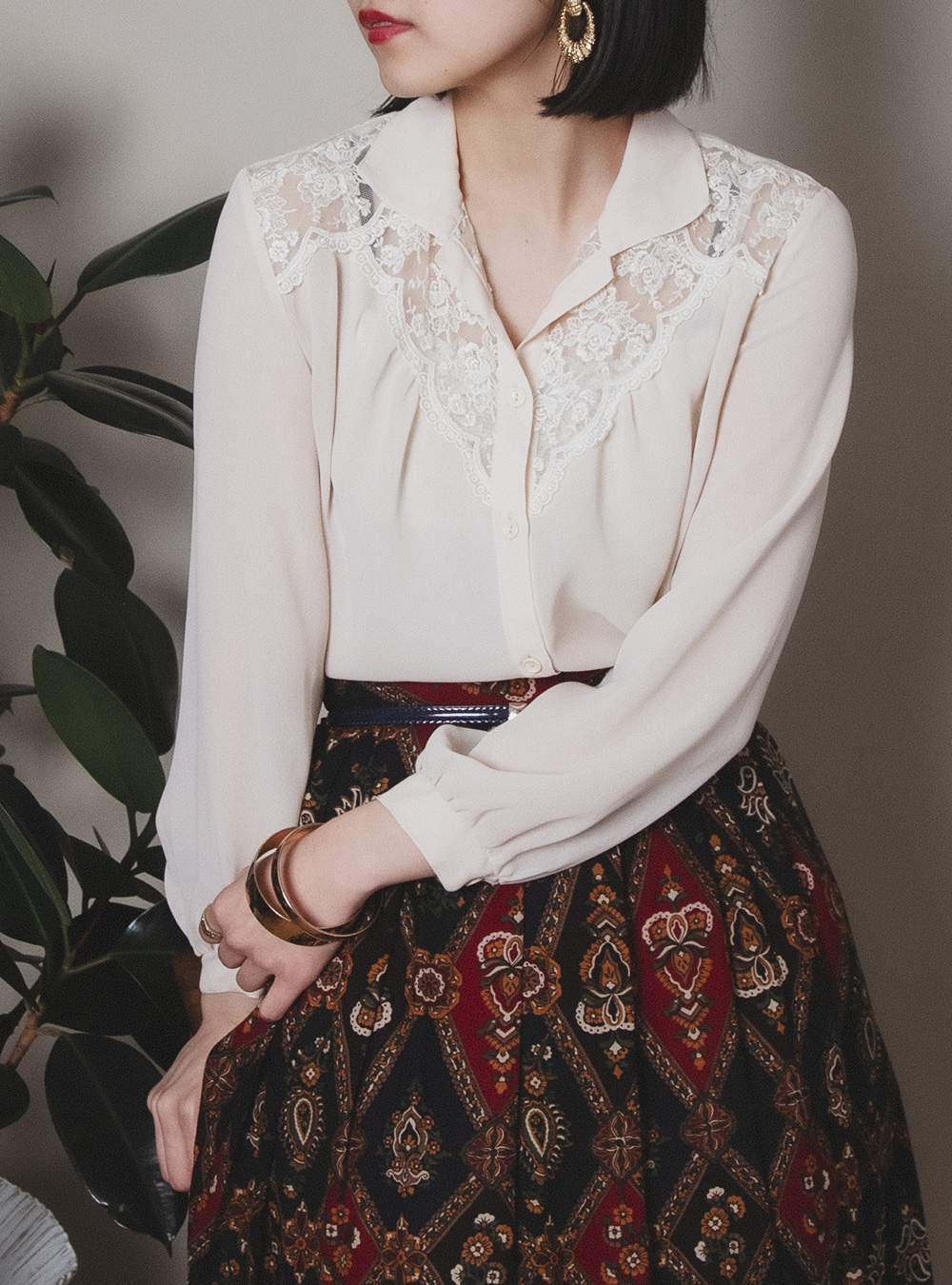 Flower Lace Design Sheer Blouse