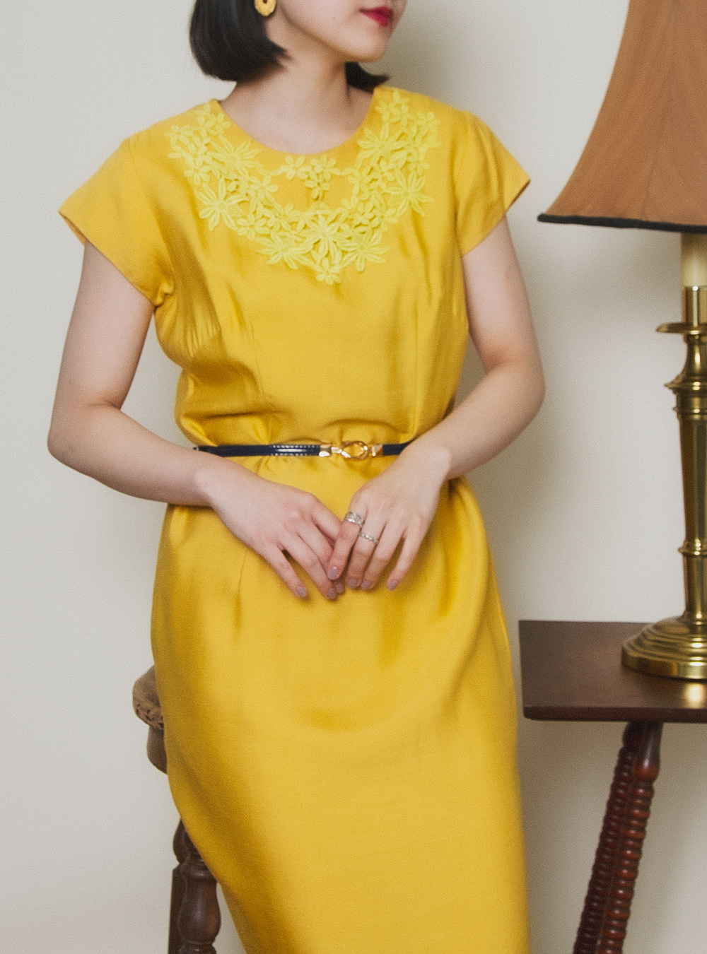 1950's Yellow Embroidery Dress