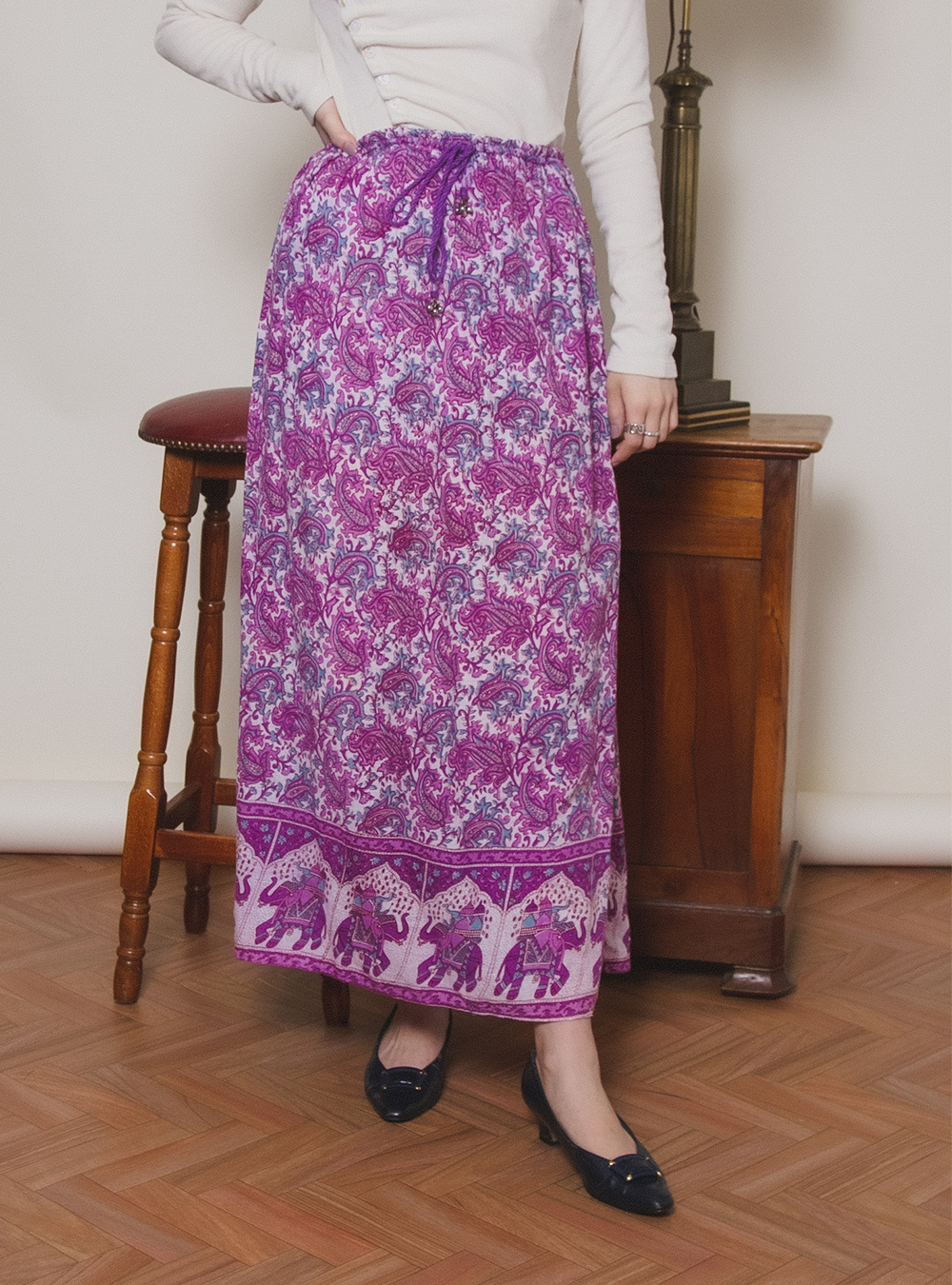 Purple Paisley Indian Cotton Skirt