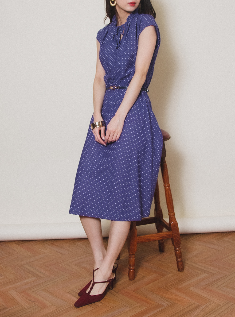 Blue Dot No Sleeve Dress