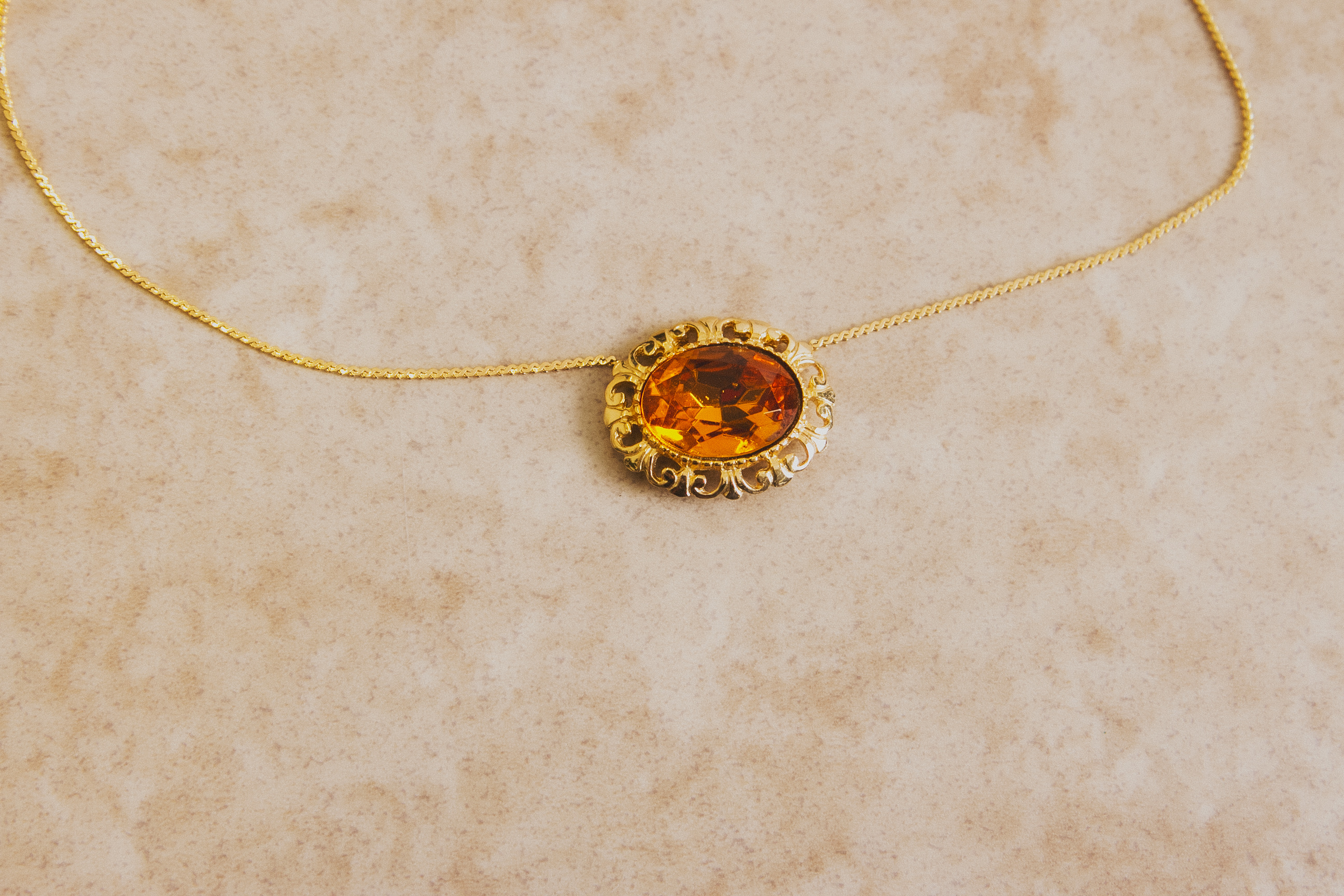 Orange Bijou Necklace