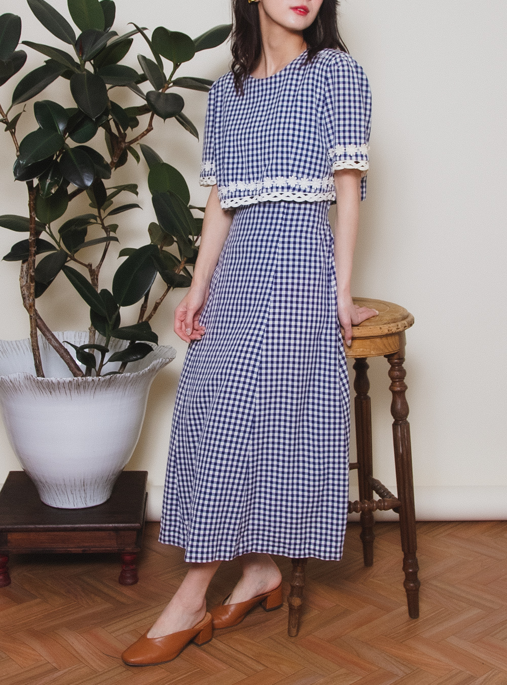 Navy Gingham Check Margaret Dress