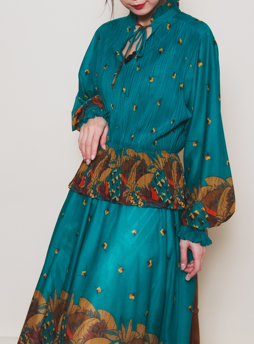 Dark Green Tropical Design Dress