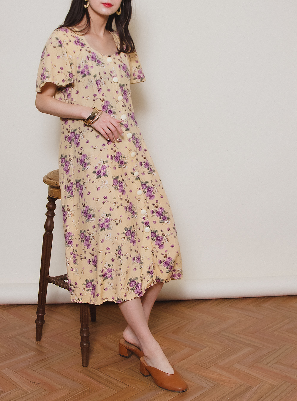 Cream Yellow Flower Print Dress