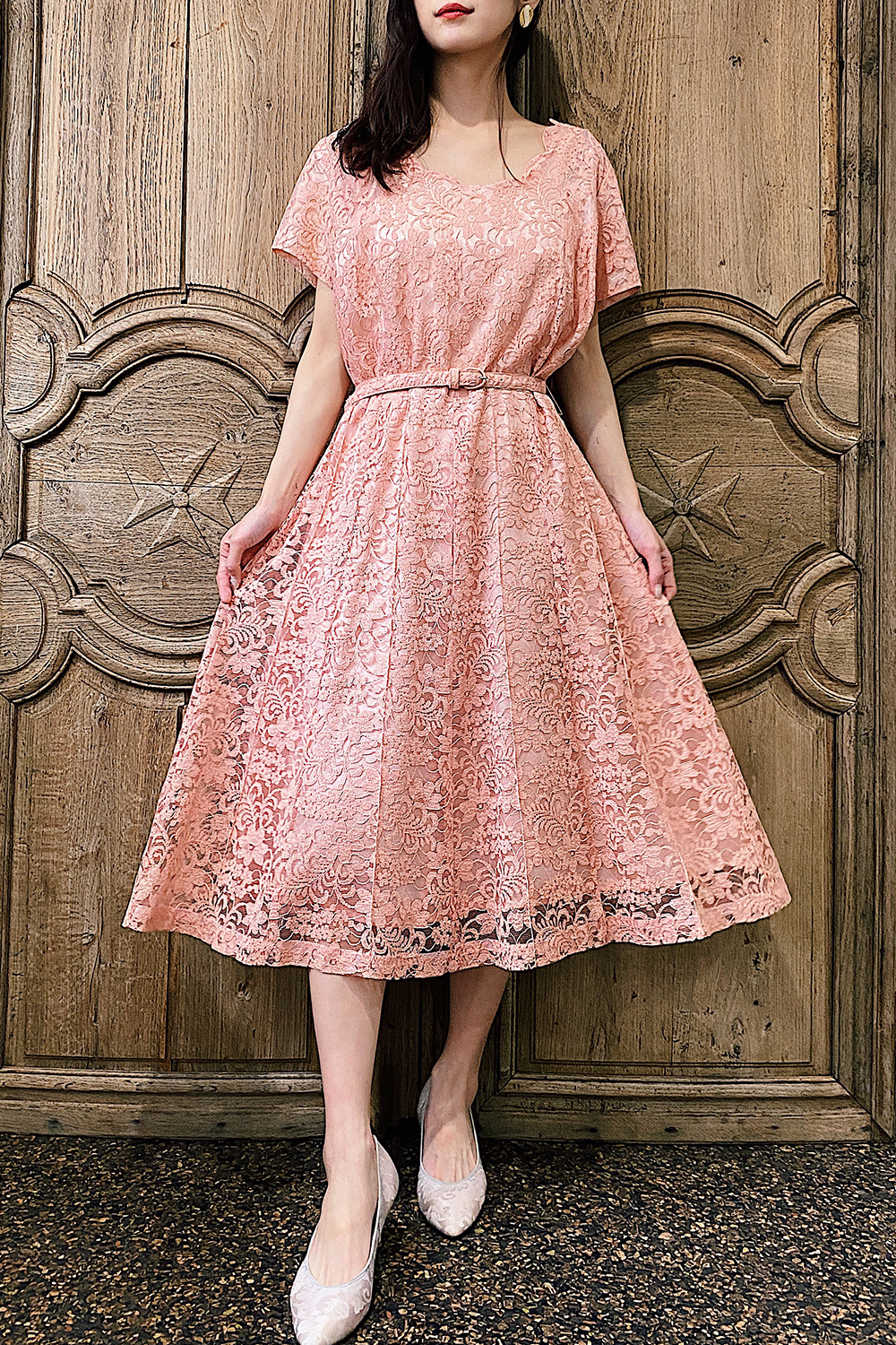 1950's Pink Flower Lace Dress