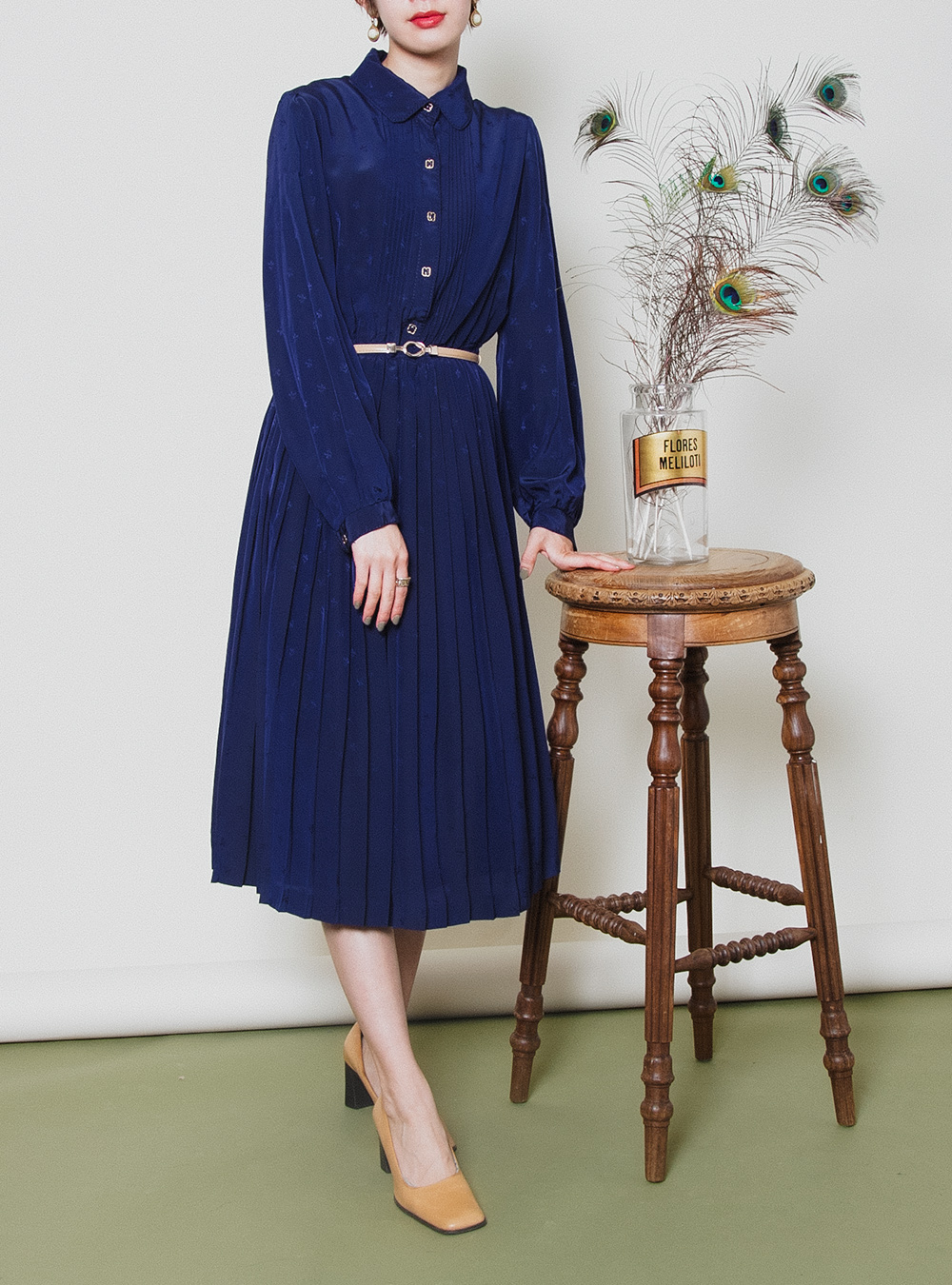 Navy Flower Embroidery Dress