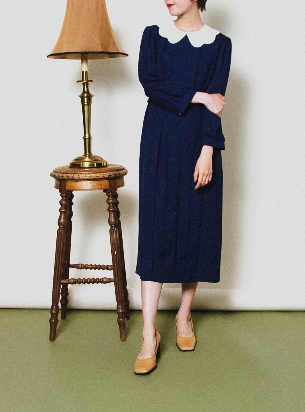 Navy Blue Scallop Collar Dress