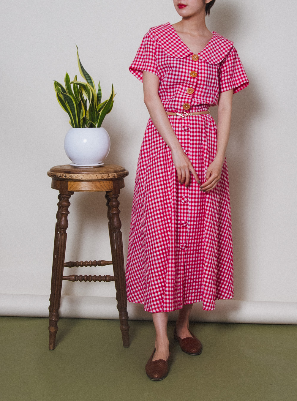 Red Gingham Checked Flair Dress