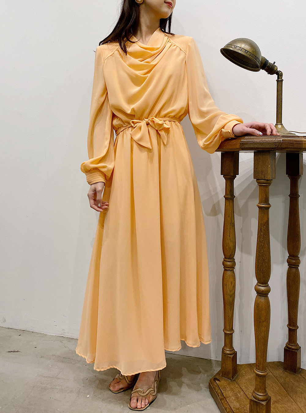 1970's Pail Orange Drape Dress