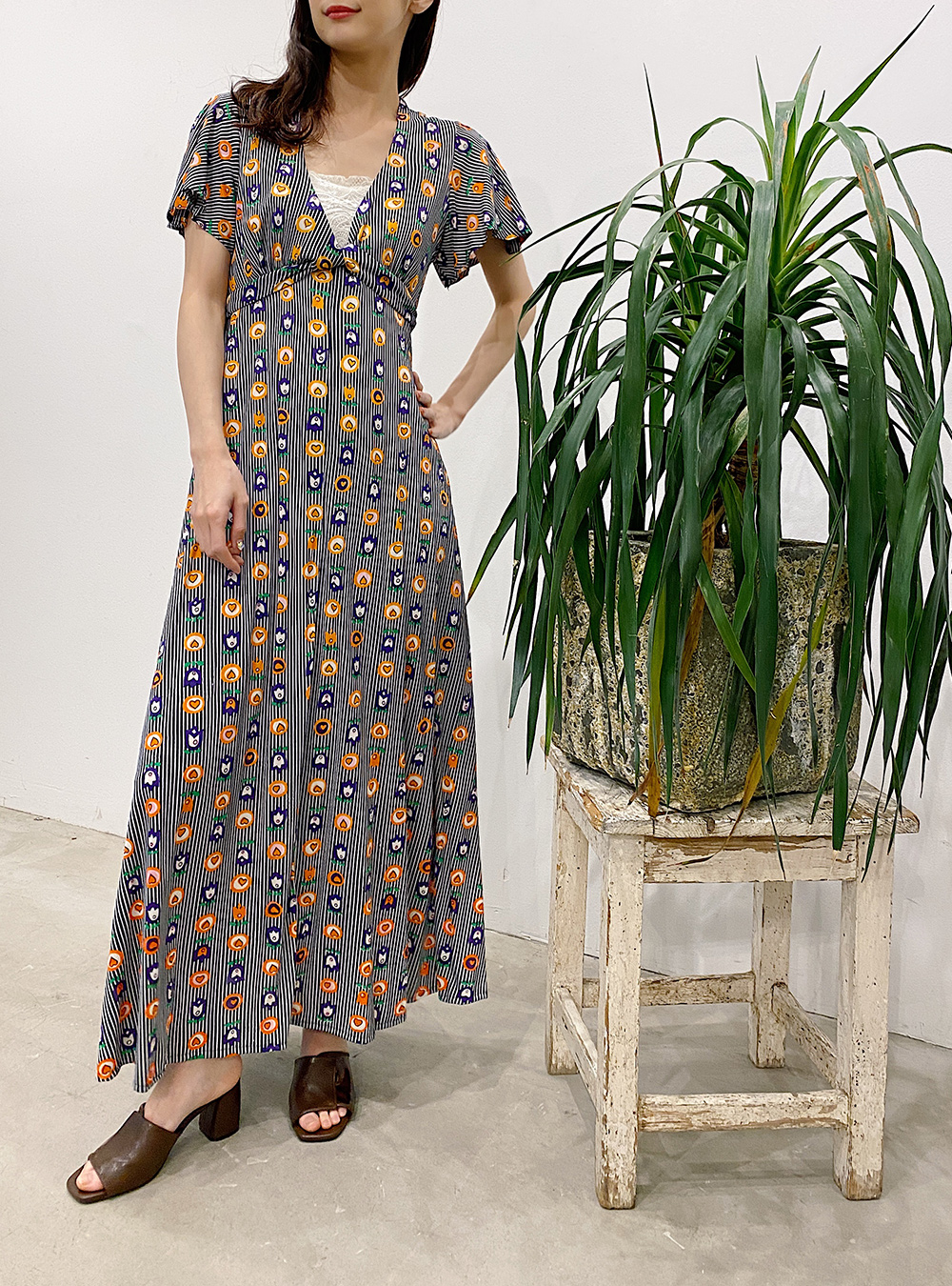 1970's  Heart×Flower Silhouette Dress