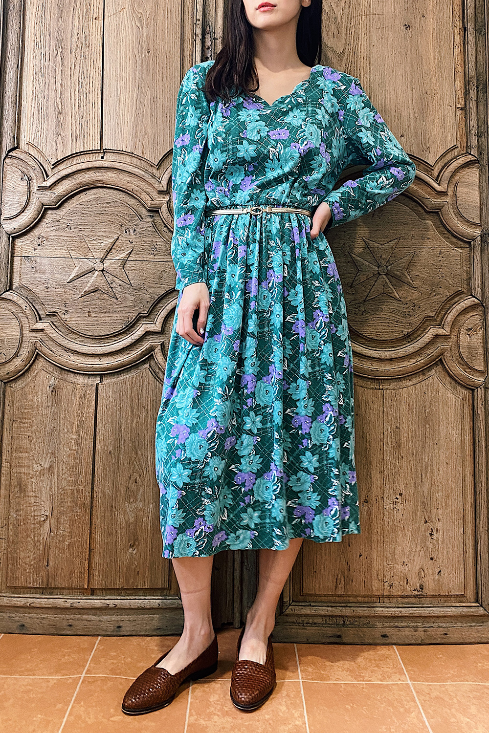 Moss Green Scallop Design Dress