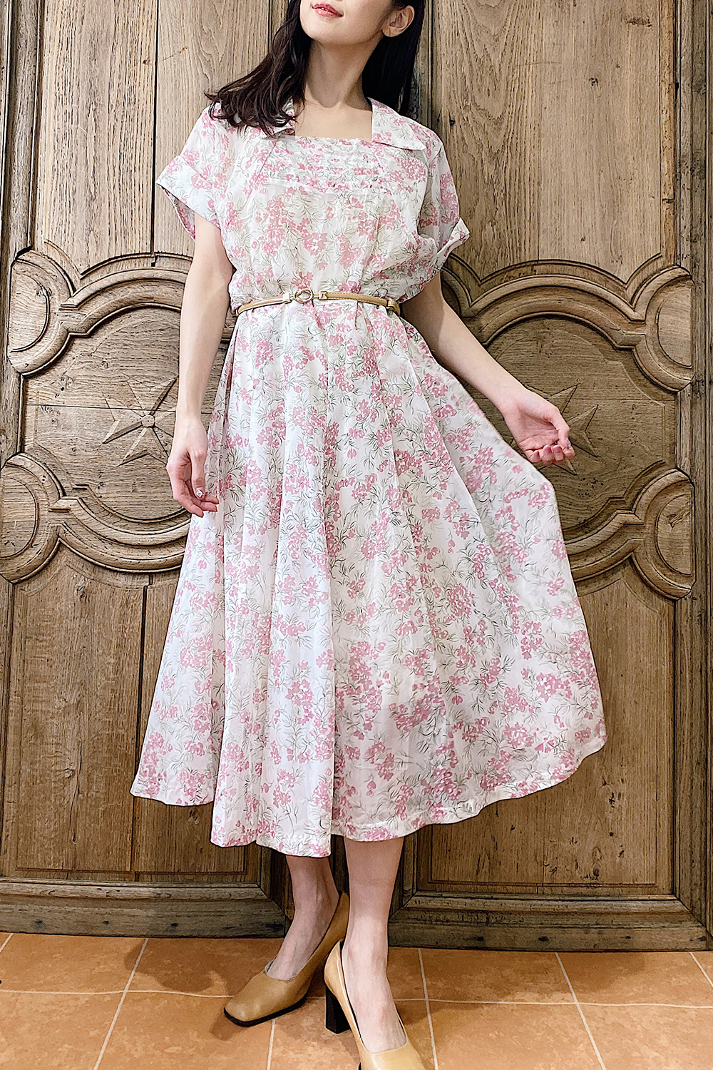1950's Shher Pale Pink Flower Design Dress