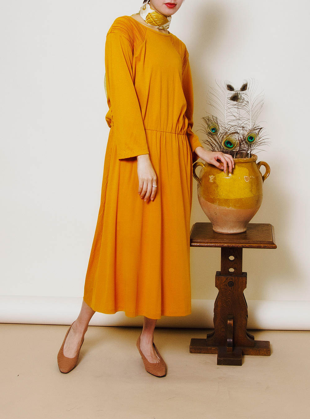 Mustard Yellow Design Shoulder Dress