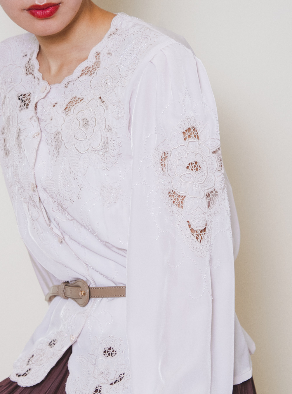 Pale Pink  Embroidery Design Blouse