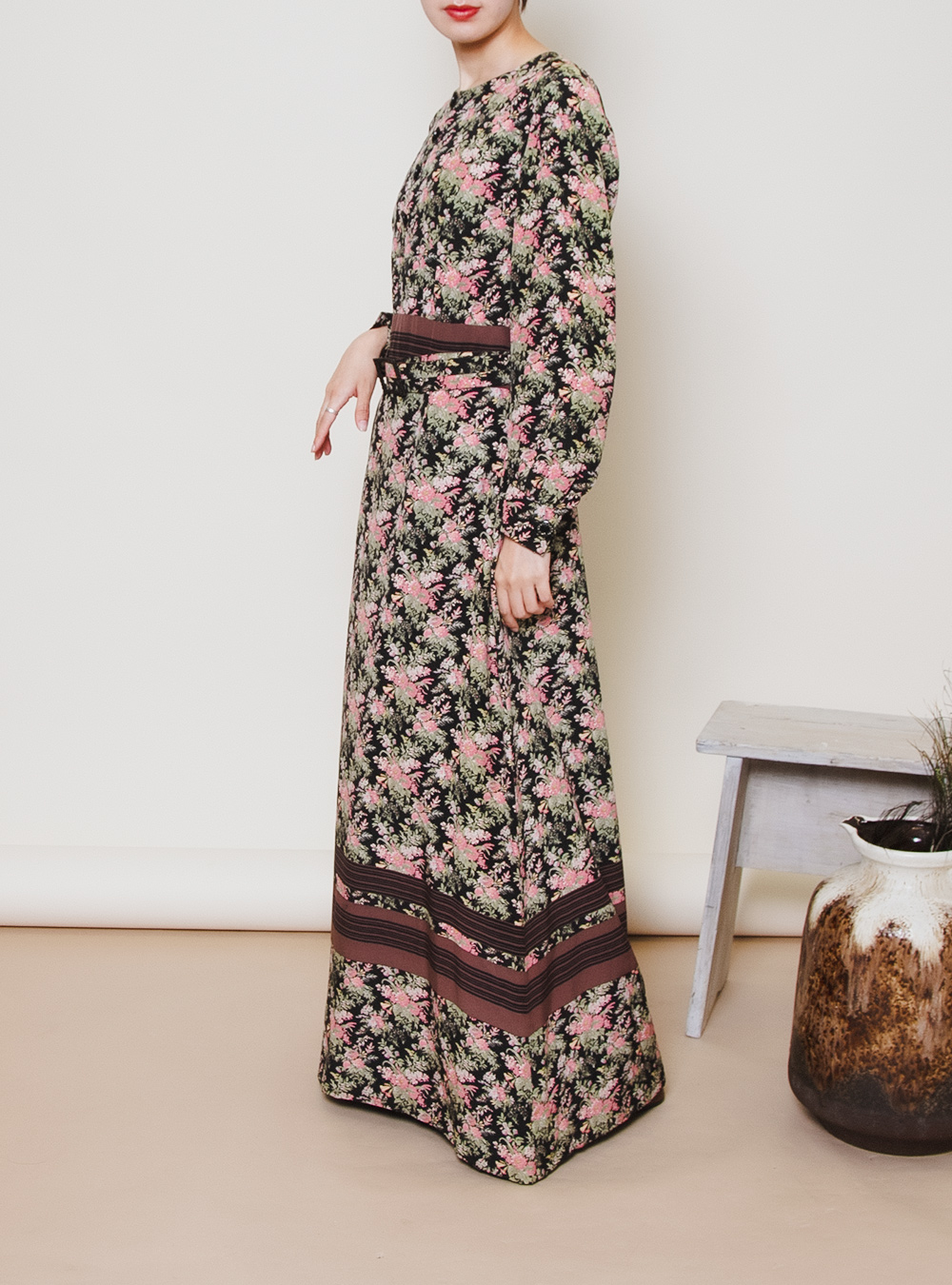 Flower × Border Design Maxi Dress
