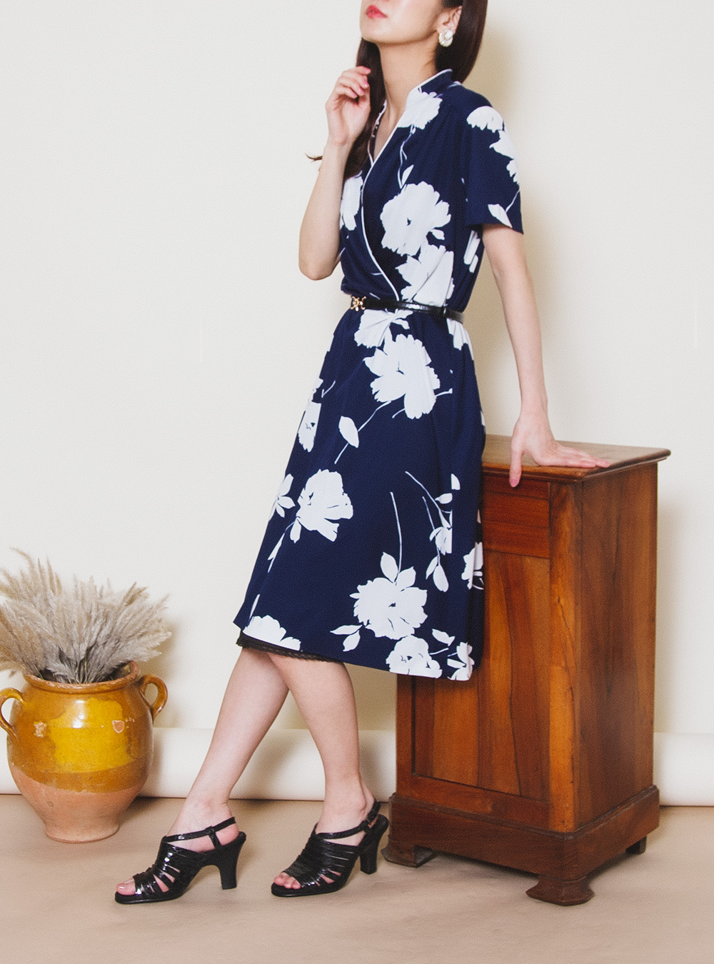 Navy Collar Ennui Flower Design Dress