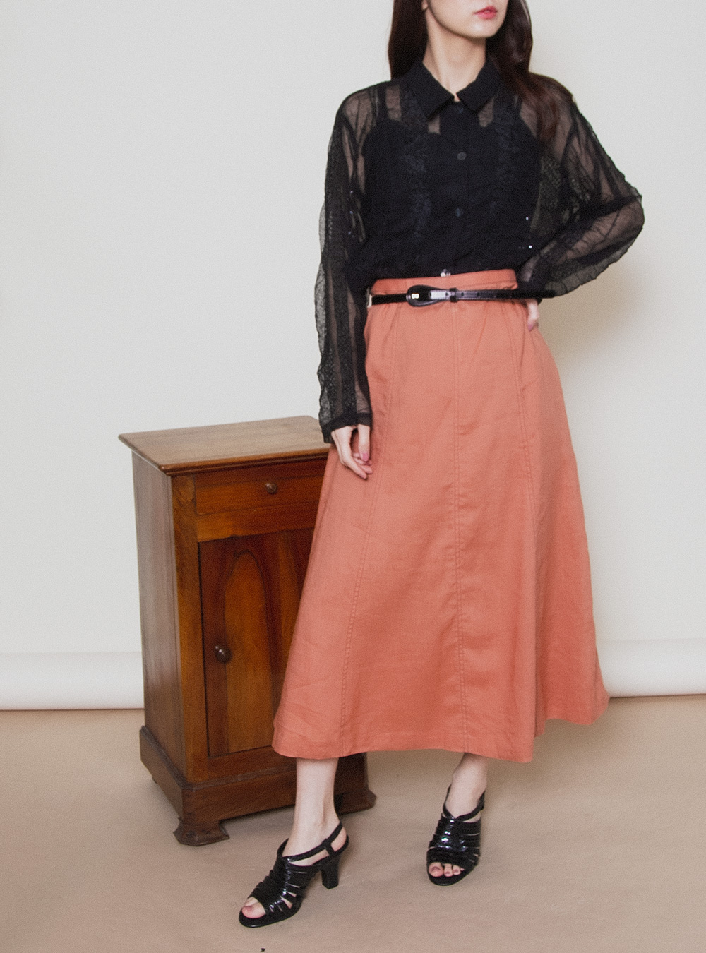 Terracotta Color Simple ALine Skirt