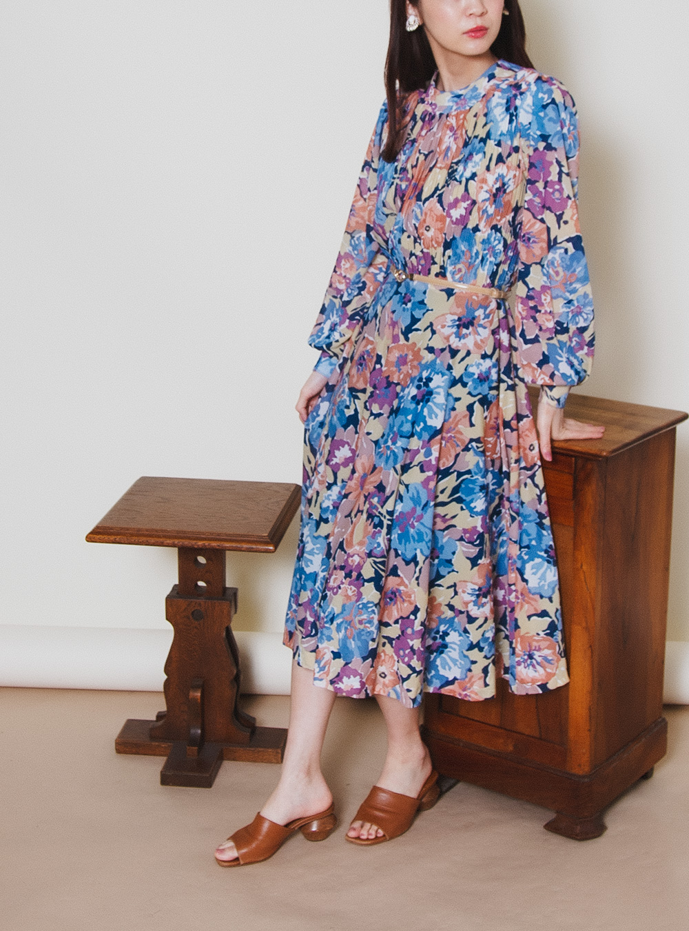 Colorful Flower Print Design Sheer Dress