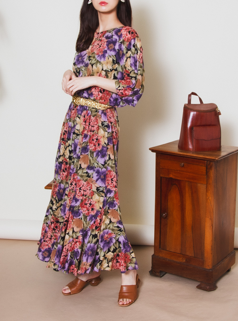 Dusty Color Big Flower Print Design Dress