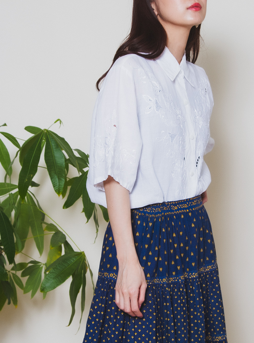 White Cotton Embroidery Blouse