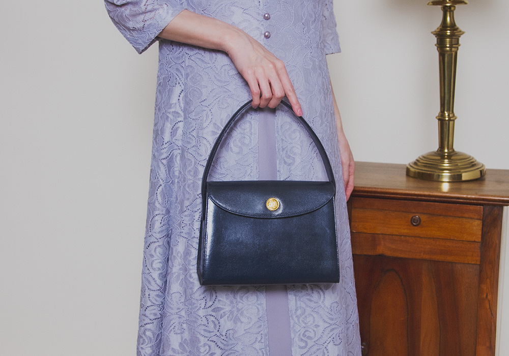 Navy Gold Button Hand Bag