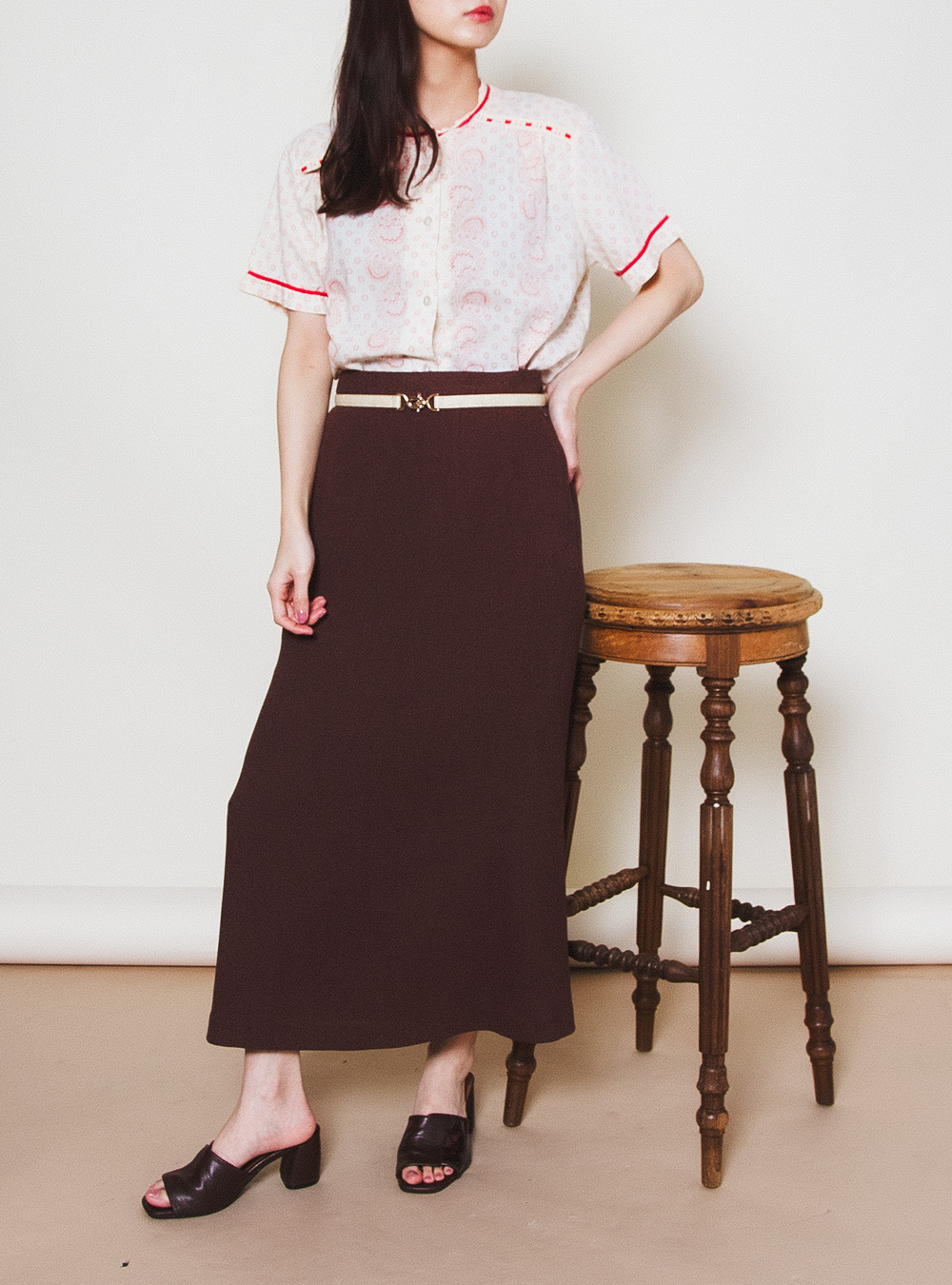 Nuance Brown Long Skirt