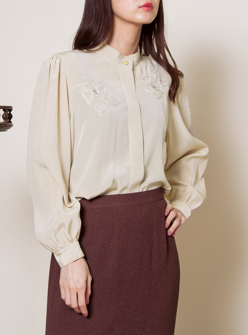 Yellow Beige Rose Embroidery Pleats Blouse